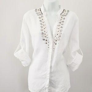 Saint Tropez West Women's L Linen Button U…
